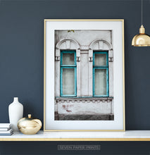 Load image into Gallery viewer, Old Blue Wooden Windows Historical Architecture Art Photo