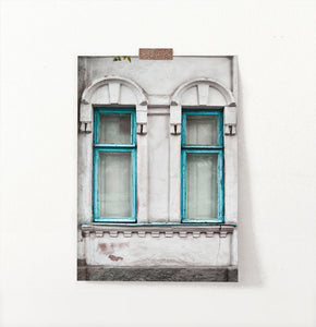Old Blue Wooden Windows Historical Architecture Art Photo
