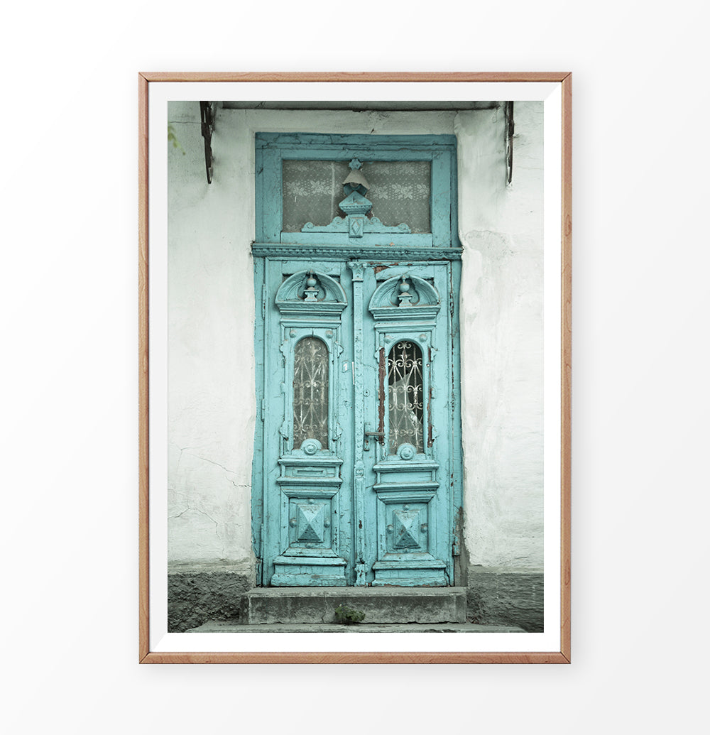 Blue Door Photography, Architecture Print, Ancient Decor, Rustic Decor Wall Art