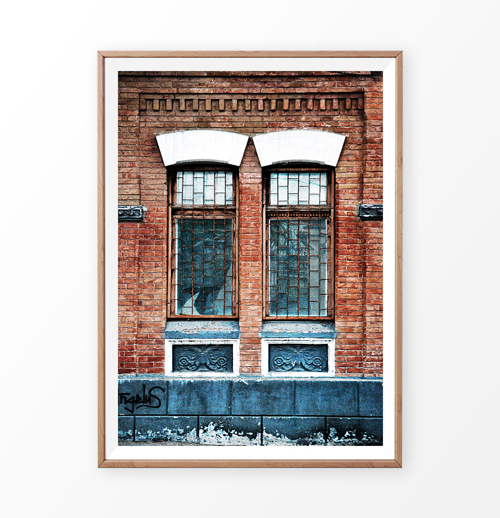 Old Window Print, Building Photography, Architectural Wall Art, Modern Poster, Grunge Style
