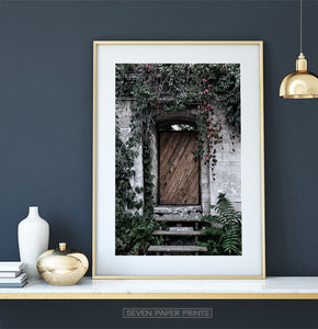 French Village Garden Door Gray Brick Wall Photo Art