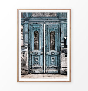 Antique Wall Art, Old Blue Door, Bulding Print, Download Photo, Digital Photography, Modern Art