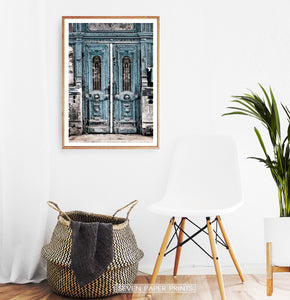 Modern Street Wall Art With Old Blue Vintage Door Print