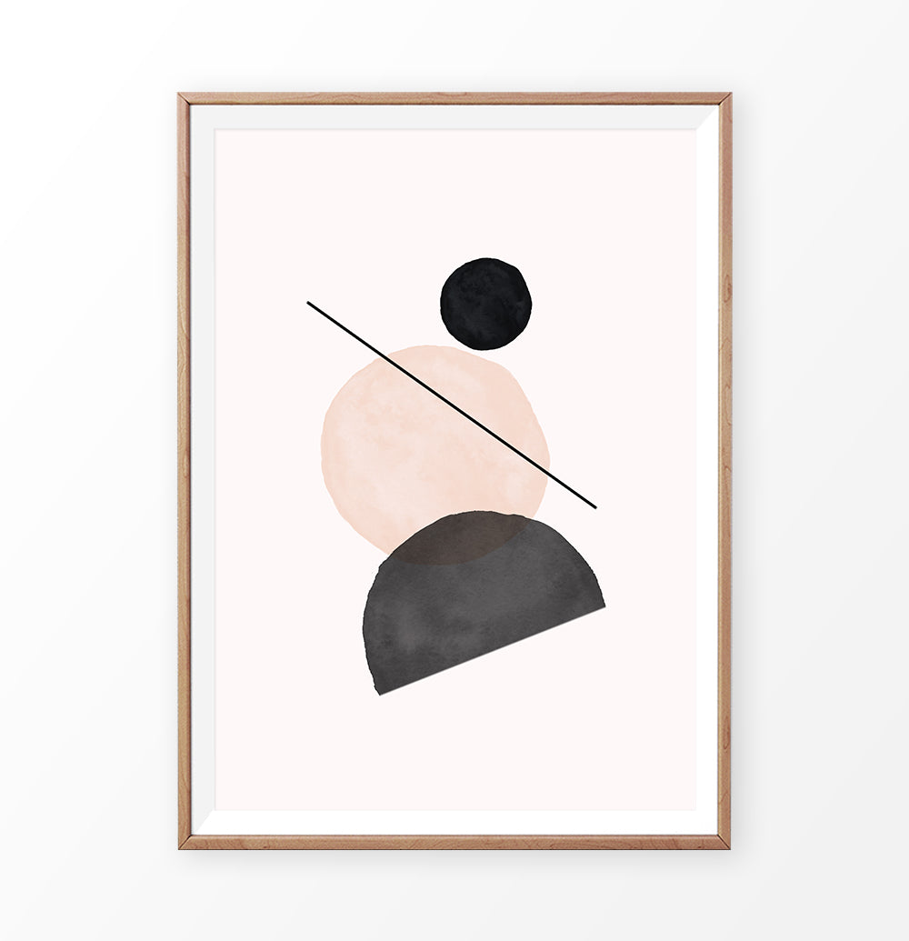 Geometric Shapes Poster In Terracotta and Black