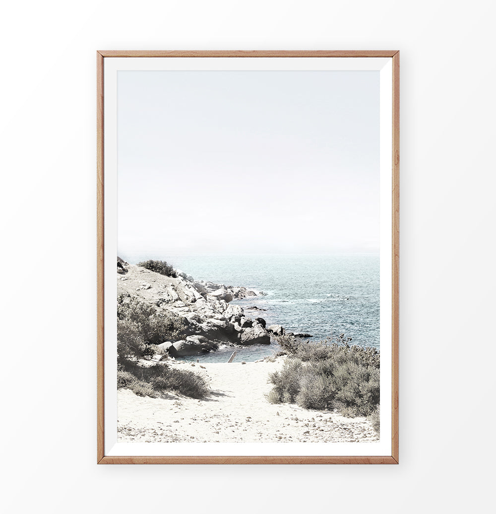 Greece Coastal Print. Naxos Island Landscape. Rocks and Teal Ocean