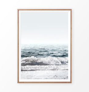 Navy Blue Sea Waves Wall Art Print
