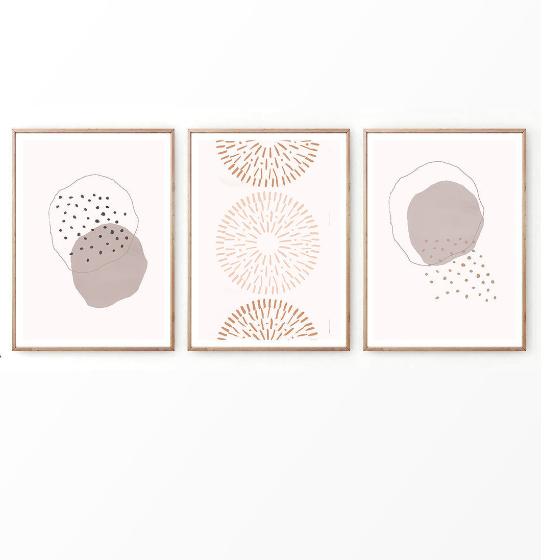 Earth Color Abstract Art Set of 3