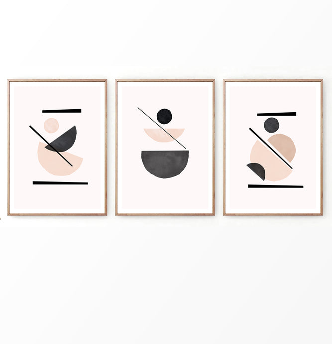 Soft Geometry Wall Art Set in Neutral Color Scheme