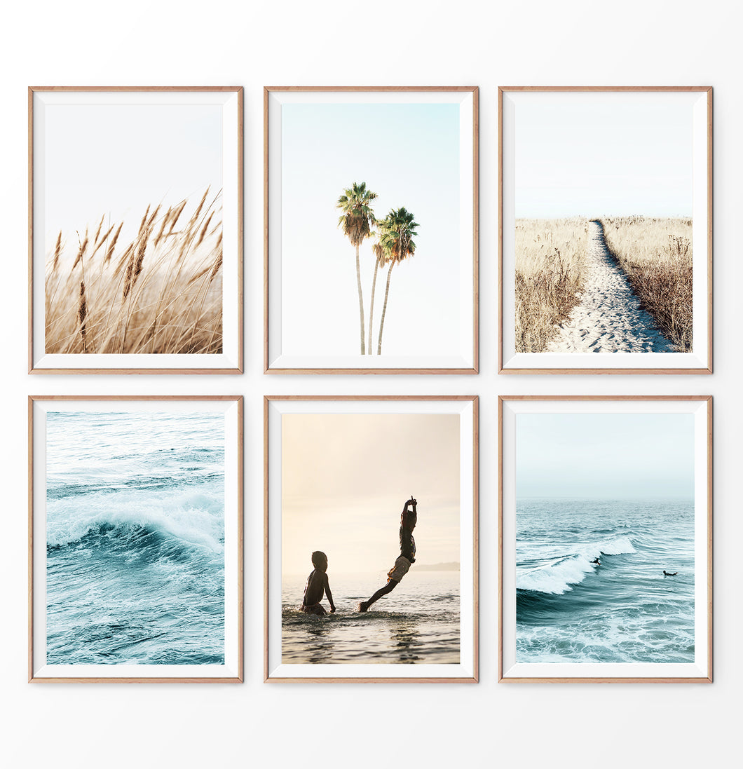 Rye field, Ocean Waves, Palm Trees and Children Playing in the Water. Printed and Shipped Wall Art