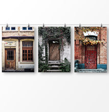 Load image into Gallery viewer, Door print, vintage poster, Set of 3 Wall Art, Retro photography, Vintage architecture, Doorway print