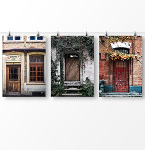Door print, vintage poster, Set of 3 Wall Art, Retro photography, Vintage architecture, Doorway print
