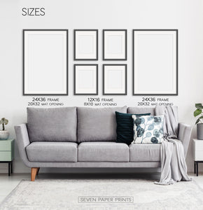 Left Wall Art - 24x36 Frames (with 20x32 mat openings), Middle 4 Items - 12x16 Frames (with 8x10 mat openings), Right Item - 24x36 Frames (with 20x32 mat openings)