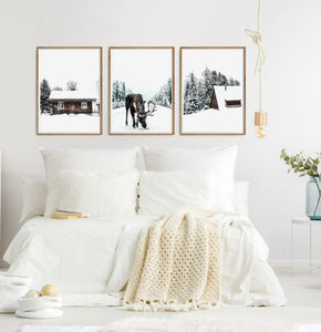 Moose Winter Forest Set of 3 Digital Prints