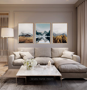 Snowy Mountain Print Wall Art Set of 3 Posters