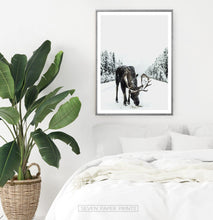 Load image into Gallery viewer, Moose Winter Forest Set of 3 Digital Prints