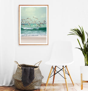 Flying Seagulls Coastal Print with Green Water Waves