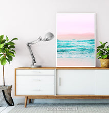 Load image into Gallery viewer, Pink Coastal Wall Art Set of 3 Prints with Ocean Beach Photo