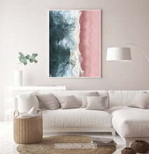 Load image into Gallery viewer, Turquoise Waves Pink Beach Aerial Ocean Photography