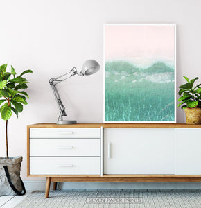Aerial Ocean Turquoise Wave Set of 2 Prints