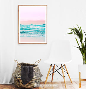 Pink Coastal Wall Art Set of 3 Prints with Ocean Beach Photo