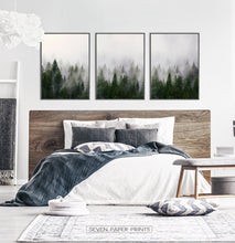 Load image into Gallery viewer, Foggy Trees Nature Landscape Print Art Set of 3