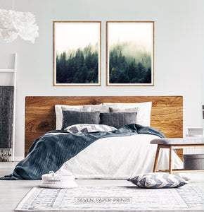 Mountain Forest Greenery Wall Art Set of 2 Prints