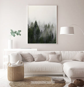 Foggy Trees Nature Landscape Print Art Set of 3