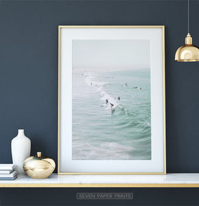 Dressing table coastal print with surfers