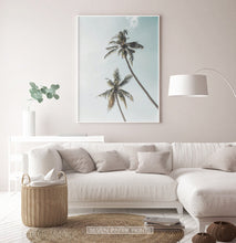 Load image into Gallery viewer, Living Room Tropical Decor - Palm Trees and Teal Sky
