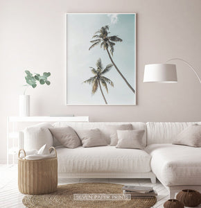 Living Room Tropical Decor - Palm Trees and Teal Sky