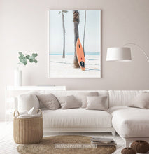 Load image into Gallery viewer, Orange Surfboard Wall Art with Tropical Palm Tree