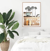 Load image into Gallery viewer, Coastal Surf Print with Palm Trees