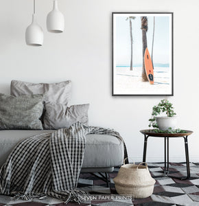 Orange Surfboard Wall Art with Tropical Palm Tree