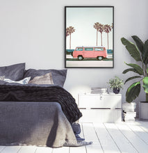 Load image into Gallery viewer, Pink Bus California Palm Beach Wall Art