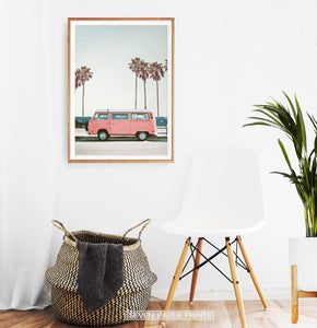Pink Bus California Palm Beach Wall Art