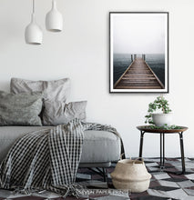 Load image into Gallery viewer, Minimalist Wooden Pier Print with Coastal Landscape