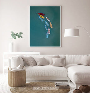 Colorful Canoe Boats in the Sea Print