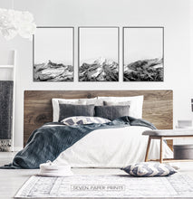 Load image into Gallery viewer, Mountain Landscape Black and White Wall Art Set of 3