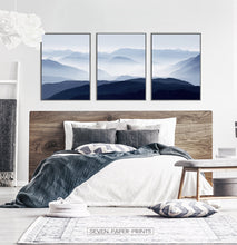 Load image into Gallery viewer, Blue Mountain Wall Art Set of 3 Modern Abstract Prints