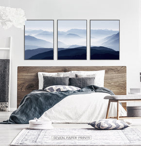 Blue Mountain Wall Art Set of 3 Modern Abstract Prints