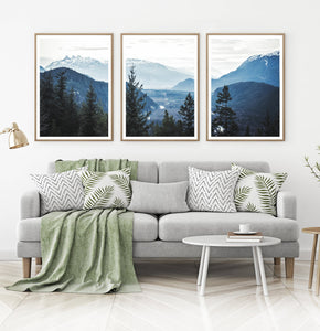 Living Room Wall Decor - Blue Mountain Triptych