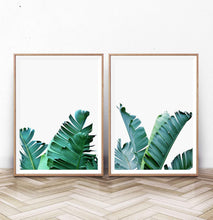 Load image into Gallery viewer, Green Banana Leaf Set of 2 Tropical Decor Prints