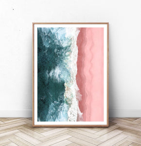 Turquoise Waves Pink Beach Aerial Ocean Photography