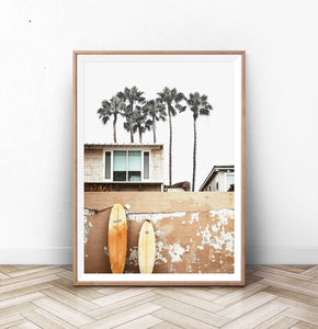 Coastal Surf Print with Palm Trees
