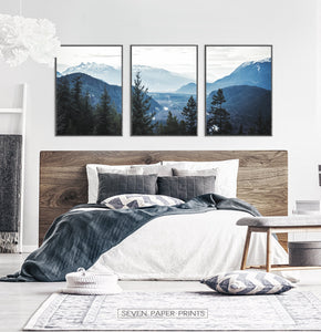 Blue Forest Nordic Landscape Set of 3 Wall Art