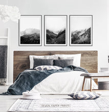 Load image into Gallery viewer, Black and White Mountain Landscape Set of 3 Wall Arts