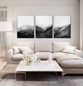 Black and White Mountain Landscape Set of 3 Wall Arts