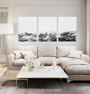 Mountain Landscape Black and White Wall Art Set of 3