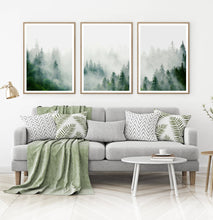 Load image into Gallery viewer, Set of 3 Foggy Forest Prints with Green Pine Trees