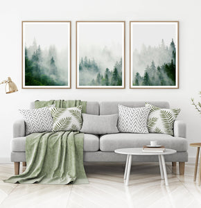 Set of 3 Foggy Forest Prints with Green Pine Trees